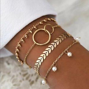 Jewelry - 🆕 4 Bracelets:Faux Pearls & Leaves